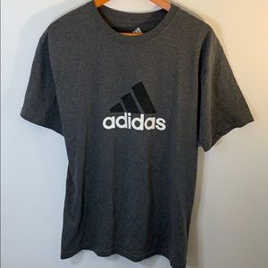 Adidas Logo Graphic Tee Gray Size Large